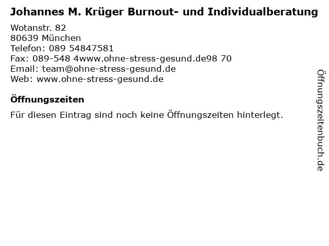 Johannes M. Krüger Burnout- und Individualberatung in München: Adresse und Öffnungszeiten