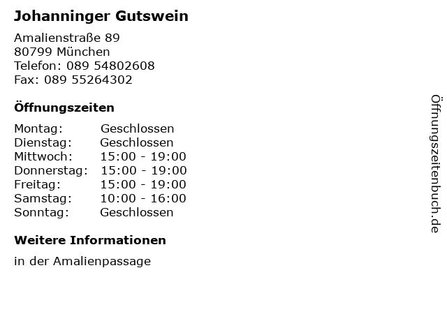 Johanninger Gutswein in München: Adresse und Öffnungszeiten