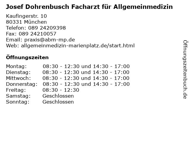 Josef Dohrenbusch Facharzt für Allgemeinmedizin in München: Adresse und Öffnungszeiten