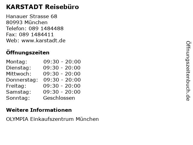 KARSTADT Reisebüro in München: Adresse und Öffnungszeiten