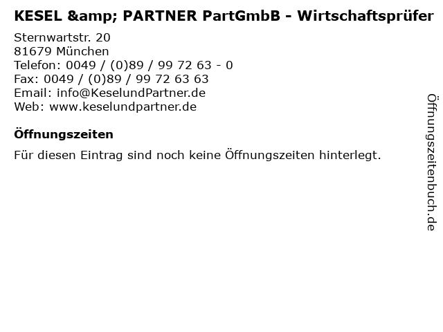 KESEL & PARTNER PartGmbB - Wirtschaftsprüfer in München: Adresse und Öffnungszeiten