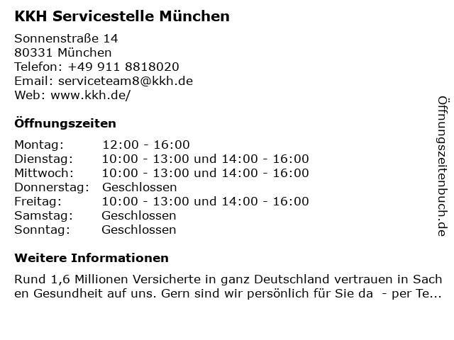 KKH Servicestelle München in München: Adresse und Öffnungszeiten