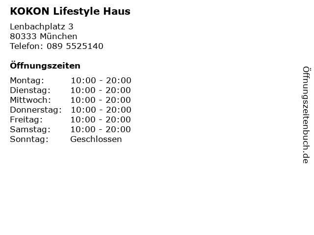 ᐅ öffnungszeiten Kokon Lifestyle Haus Lenbachplatz 3 In München