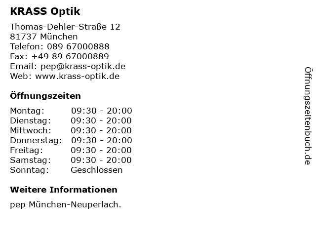 KRASS Optik in München: Adresse und Öffnungszeiten
