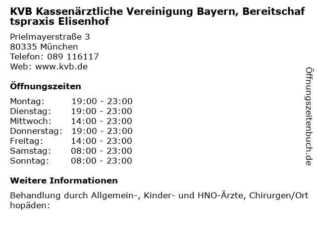 KVB Kassenärztliche Vereinigung Bayern, Bereitschaftspraxis Elisenhof in München: Adresse und Öffnungszeiten