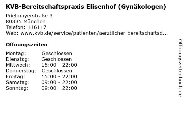 KVB-Bereitschaftspraxis Elisenhof (Gynäkologen) in München: Adresse und Öffnungszeiten