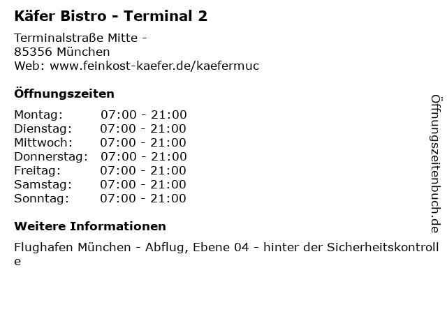 Käfer Bistro - Terminal 2 in München: Adresse und Öffnungszeiten