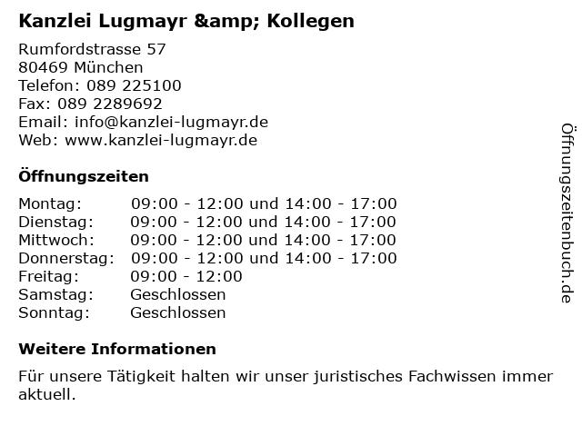 Kanzlei Lugmayr & Kollegen in München: Adresse und Öffnungszeiten