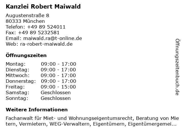 Kanzlei Robert Maiwald in München: Adresse und Öffnungszeiten