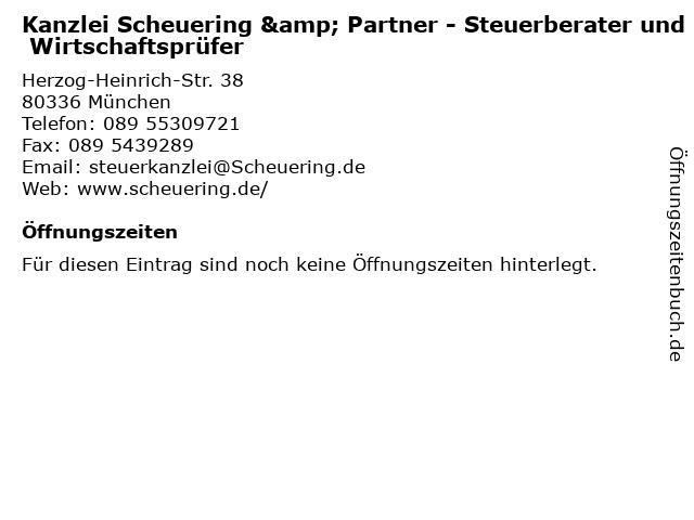 Kanzlei Scheuering & Partner - Steuerberater und Wirtschaftsprüfer in München: Adresse und Öffnungszeiten