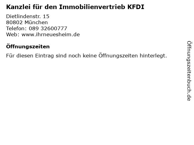 Kanzlei für den Immobilienvertrieb KFDI in München: Adresse und Öffnungszeiten
