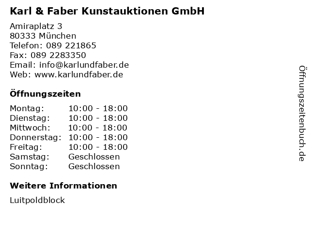 Karl & Faber Kunstauktionen GmbH in München: Adresse und Öffnungszeiten