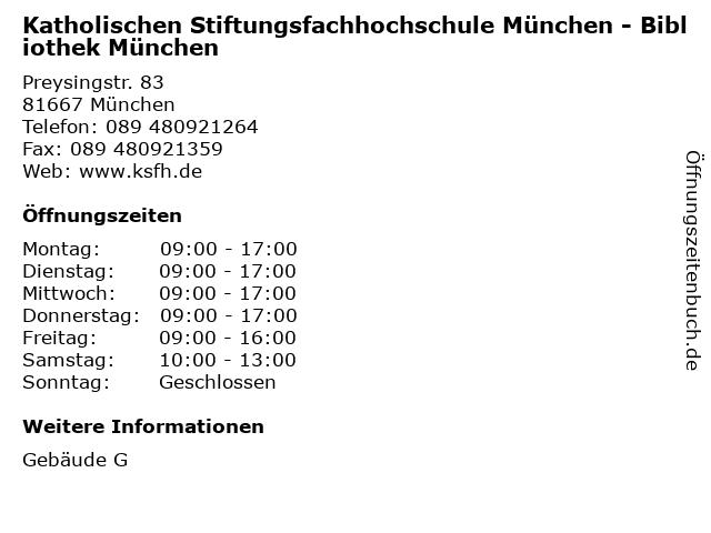 Katholischen Stiftungsfachhochschule München - Bibliothek München in München: Adresse und Öffnungszeiten