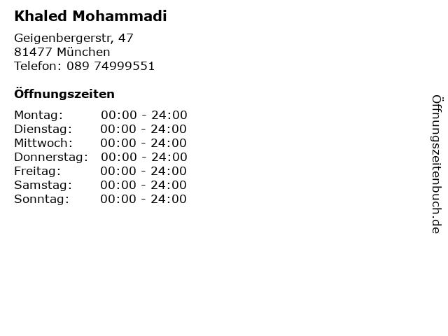 Khaled Mohammadi in München: Adresse und Öffnungszeiten