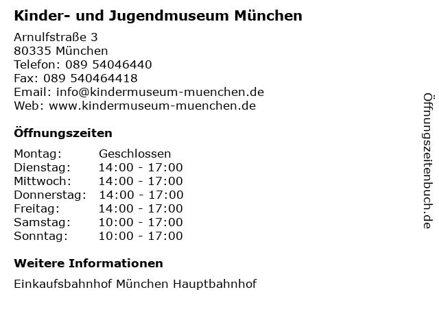 Kinder- und Jugendmuseum München in München: Adresse und Öffnungszeiten