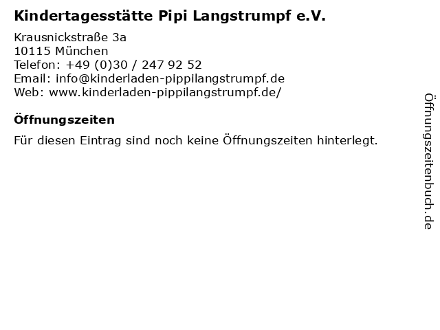 Kindertagesstätte Pipi Langstrumpf e.V. in München: Adresse und Öffnungszeiten