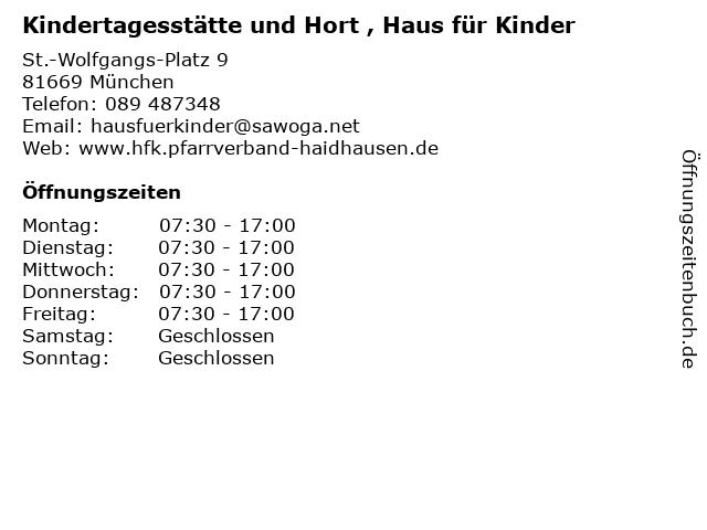 Kindertagesstätte und Hort , Haus für Kinder in München: Adresse und Öffnungszeiten