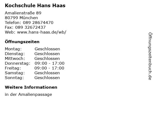 Kochschule Hans Haas in München: Adresse und Öffnungszeiten
