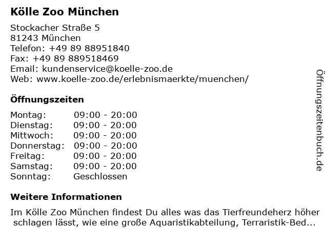 Kölle Zoo München in München: Adresse und Öffnungszeiten