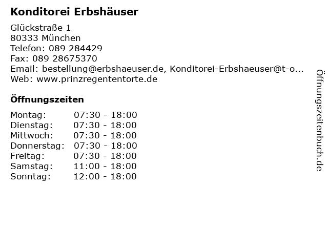 Konditorei Erbshäuser in München: Adresse und Öffnungszeiten