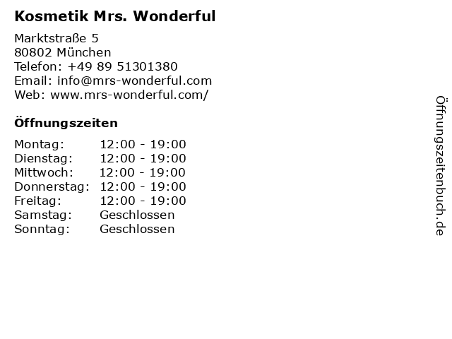 Kosmetik Mrs. Wonderful in München: Adresse und Öffnungszeiten
