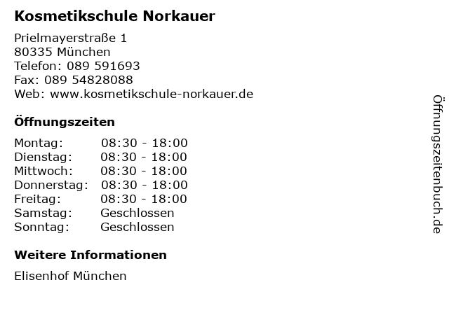 Kosmetikschule Norkauer in München: Adresse und Öffnungszeiten