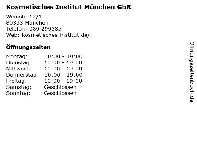 Kosmetisches Institut München GbR in München: Adresse und Öffnungszeiten