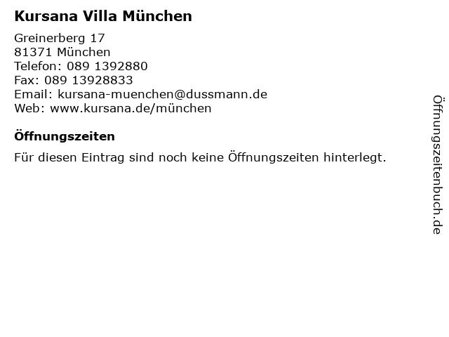 Kursana Villa München in München: Adresse und Öffnungszeiten