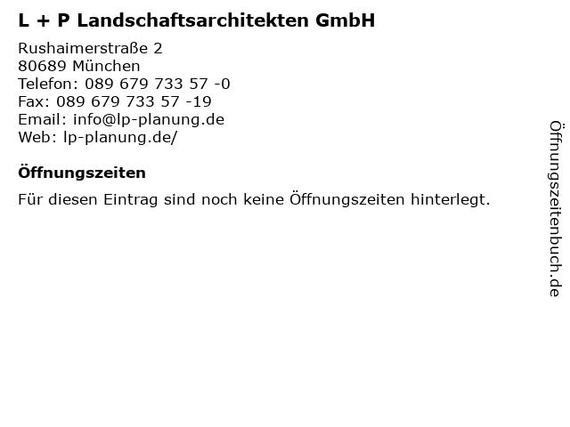 L + P Landschaftsarchitekten GmbH in München: Adresse und Öffnungszeiten