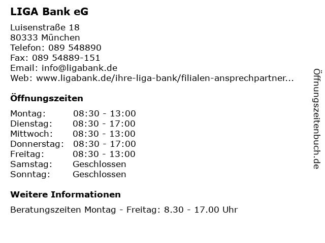 LIGA Bank eG - Filiale München in München: Adresse und Öffnungszeiten