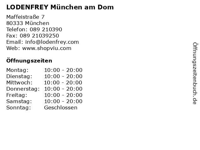 LODENFREY München am Dom in München: Adresse und Öffnungszeiten
