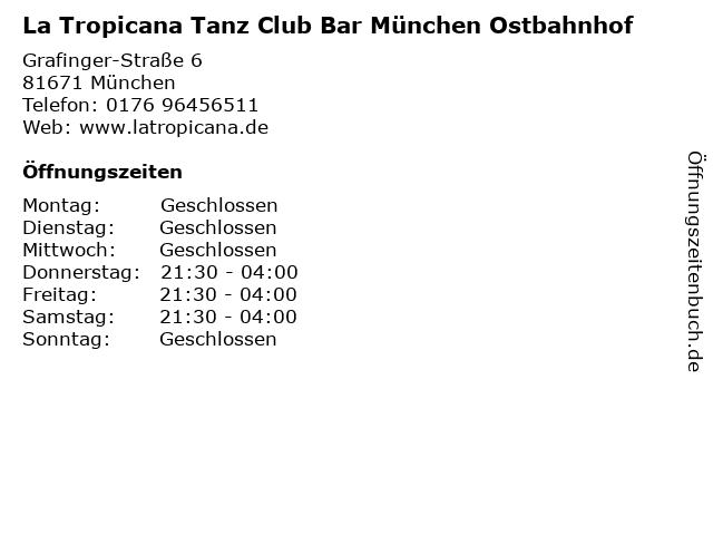 La Tropicana Tanz Club Bar München Ostbahnhof in München: Adresse und Öffnungszeiten