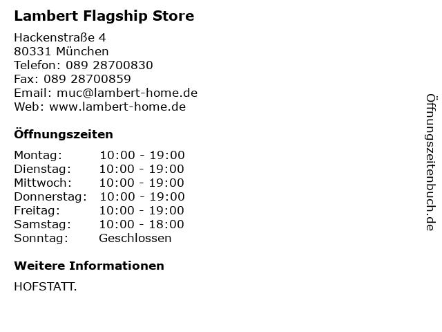 Lambert Flagship Store in München: Adresse und Öffnungszeiten