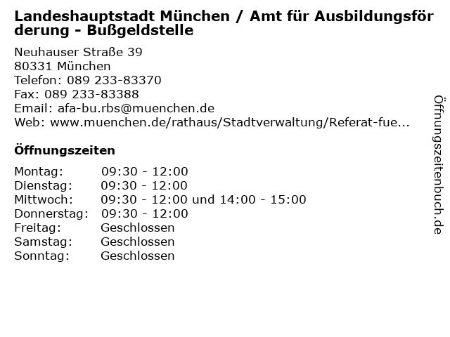 Landeshauptstadt München / Amt für Ausbildungsförderung - Bußgeldstelle in München: Adresse und Öffnungszeiten