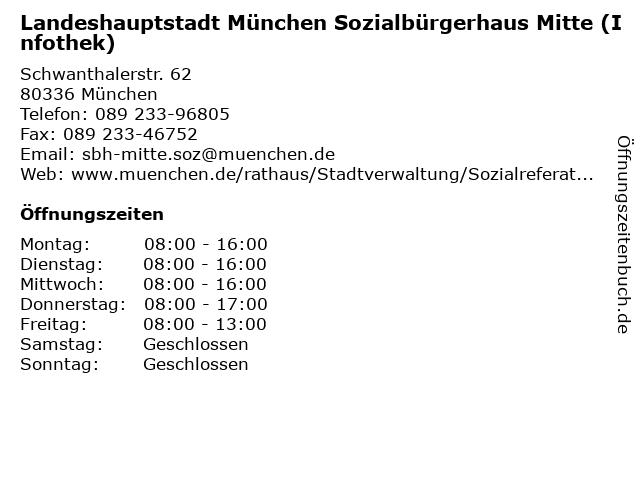 Landeshauptstadt München Sozialbürgerhaus Mitte (Infothek) in München: Adresse und Öffnungszeiten