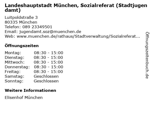 Landeshauptstadt München, Sozialreferat (Stadtjugendamt) in München: Adresse und Öffnungszeiten