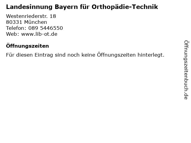 Landesinnung Bayern für Orthopädie-Technik in München: Adresse und Öffnungszeiten