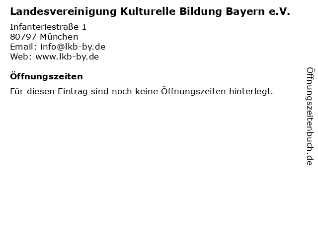 Landesvereinigung Kulturelle Bildung Bayern e.V. in München: Adresse und Öffnungszeiten