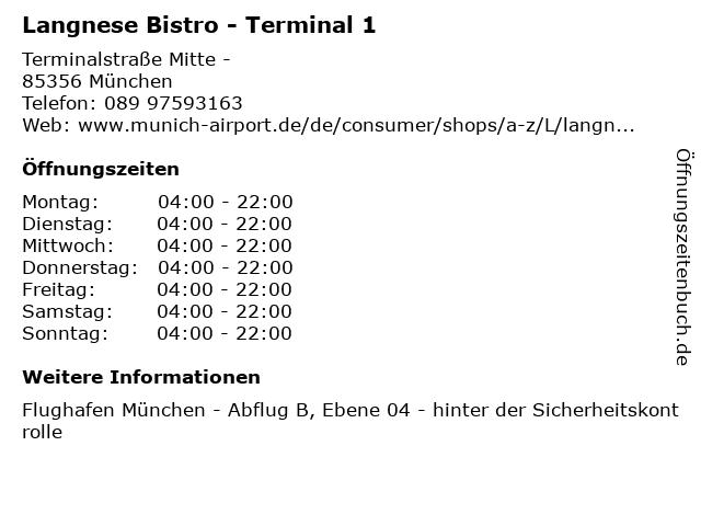 Langnese Bistro - Terminal 1 in München: Adresse und Öffnungszeiten