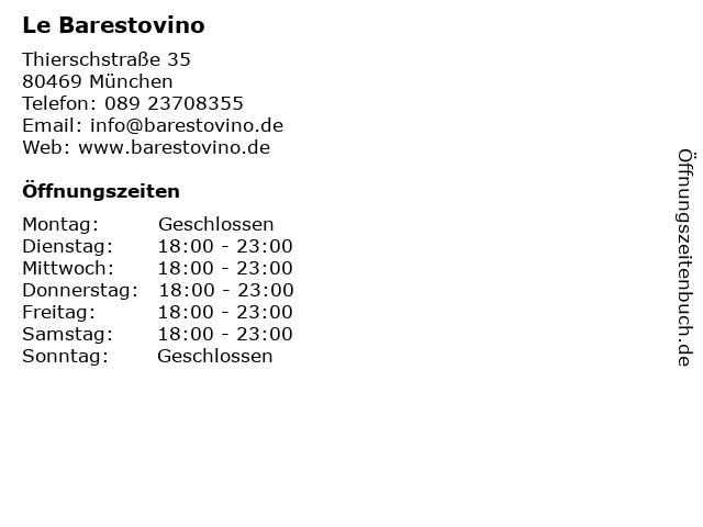Le Barestovino in München: Adresse und Öffnungszeiten