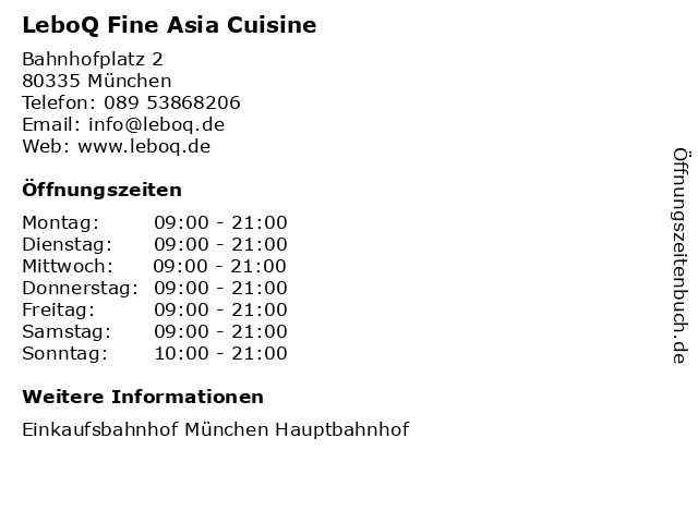 LeboQ Fine Asia Cuisine in München: Adresse und Öffnungszeiten