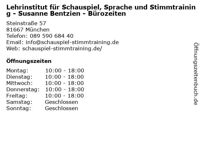 Lehrinstitut für Schauspiel, Sprache und Stimmtraining - Susanne Bentzien - Bürozeiten in München: Adresse und Öffnungszeiten
