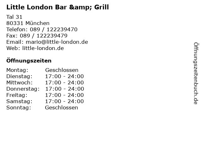 Little London Bar & Grill in München: Adresse und Öffnungszeiten