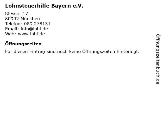 Lohnsteuerhilfe Bayern e.V. Lohnsteuerhilfeverein Hauptverwaltung in München: Adresse und Öffnungszeiten