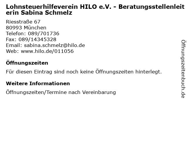 Lohnsteuerhilfeverein HILO e.V. - Beratungsstellenleiterin Sabina Schmelz in München: Adresse und Öffnungszeiten