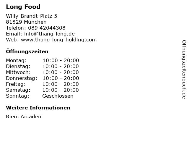 Long Food in München: Adresse und Öffnungszeiten