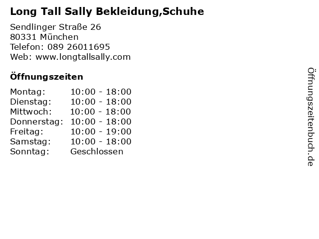 Long Tall Sally Bekleidung,Schuhe in München: Adresse und Öffnungszeiten