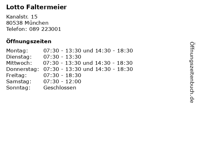 Lotto Faltermeier in München: Adresse und Öffnungszeiten