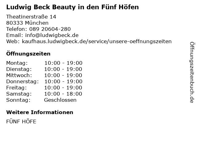 Ludwig Beck Beauty in den Fünf Höfen in München: Adresse und Öffnungszeiten