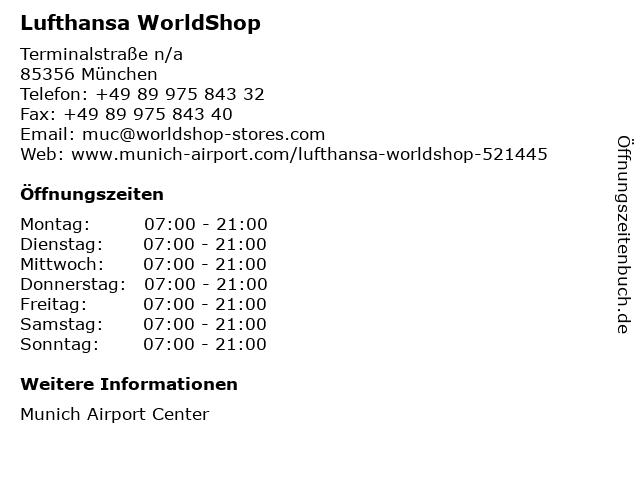 Lufthansa WorldShop in München: Adresse und Öffnungszeiten